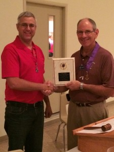 Grand Knight David Gerling receives the 2014 State Charities Award